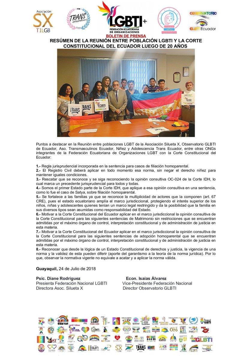 RESÚMEN DE LA REUNIÓN ENTRE POBLACIÓN LGBTI Y LA CORTE CONSTITUCIONAL DEL ECUADOR COMO UN HECHO HISTÓRICO - Asociación Silueta X - Transmasculinos ecuador - niñez y adolescencia tr